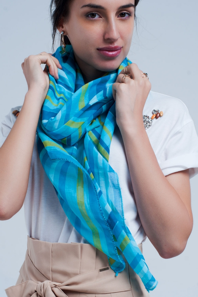 Turquoise scarf with blue stripes