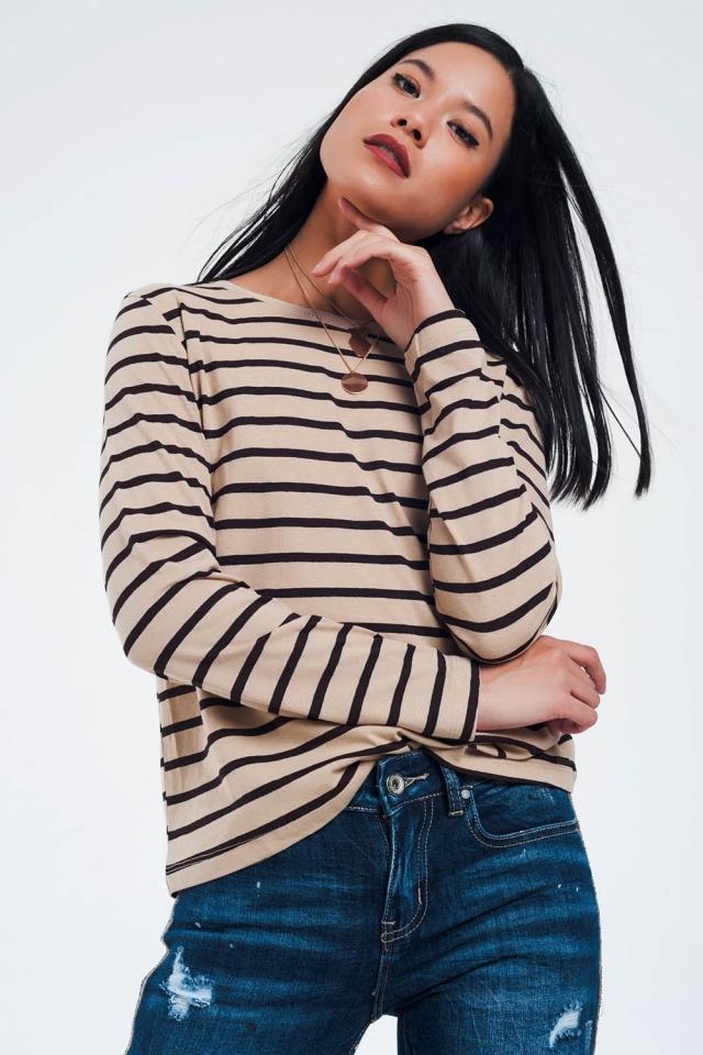Beiges Basic T-Shirt mit Streifen