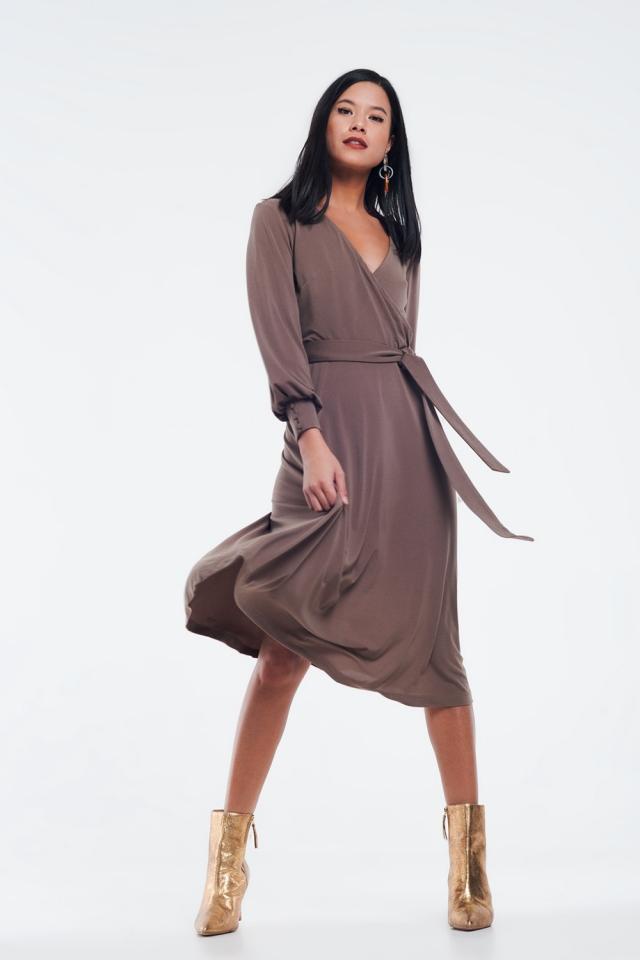 wrap midi dress in beige color