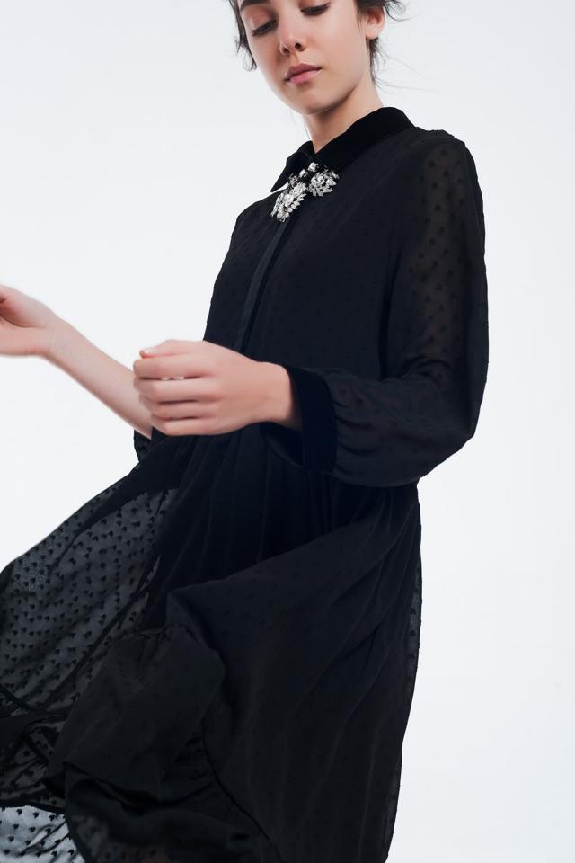 Bi-material black midi dress