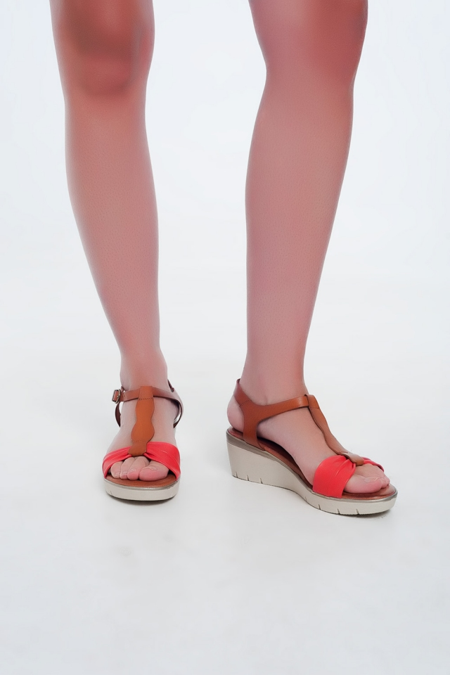 Red-camel coloured wedge sandals