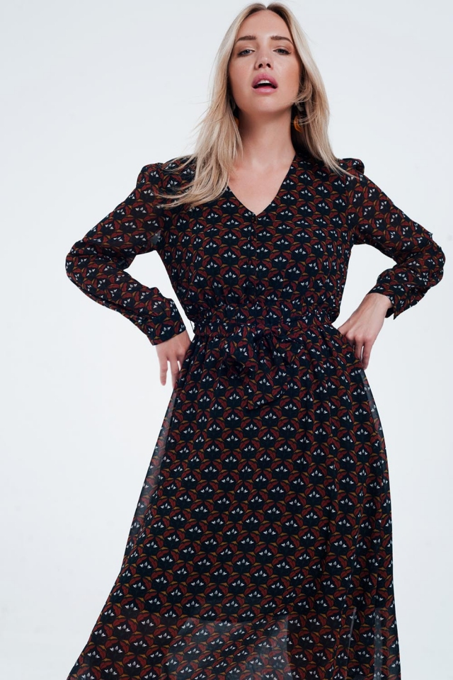 Black midi floral dress with button detail