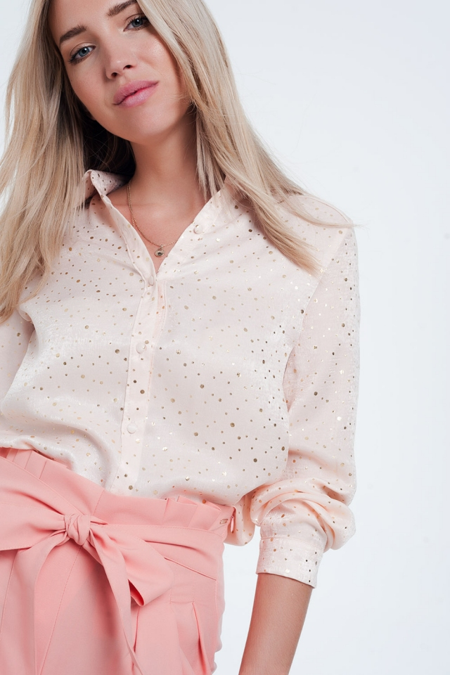 Pink long sleeve blouse in gold spot
