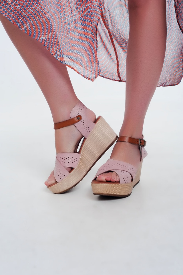 Pink high Leather wedge espadrille Sandal