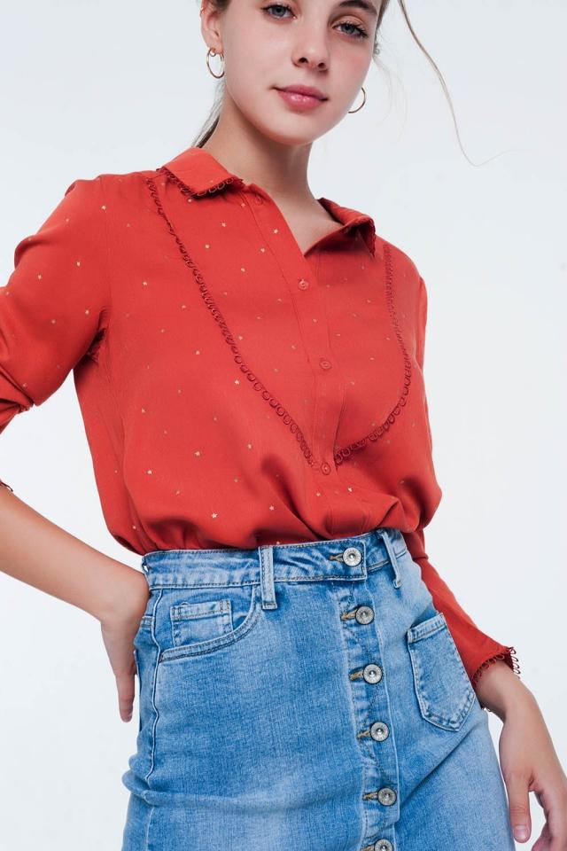 Orange long sleeve tea blouse with collar detail
