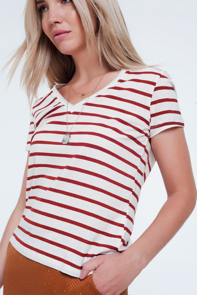Orange stripe v-neck t-shirt