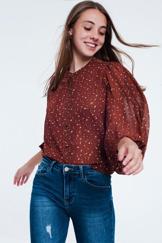Brown printed sheer shirt