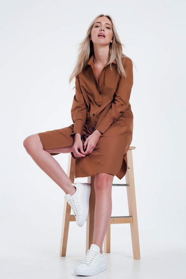 Utility midi shirt dress with pockets in brown