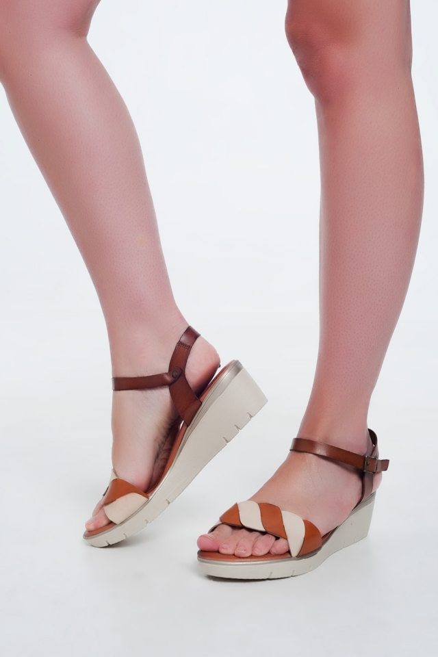 Camel leather wedge sandals
