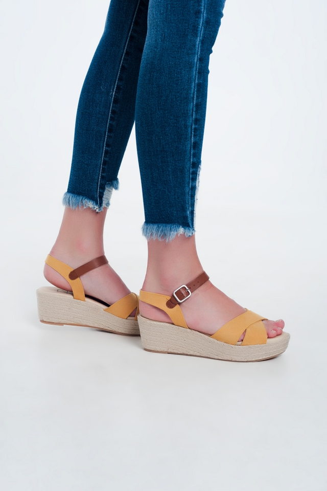 Yellow square toe wedge espadrilles
