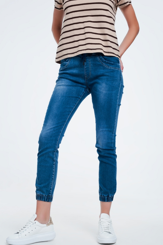 Slim jogger jeans in blue