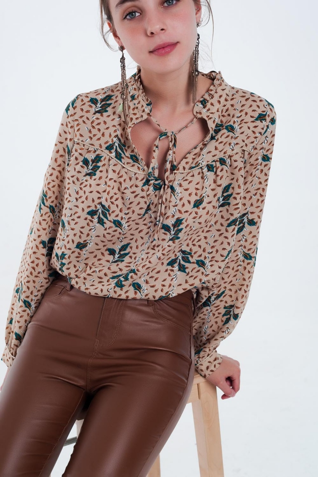Leaf print beige blouse with gold thread detail