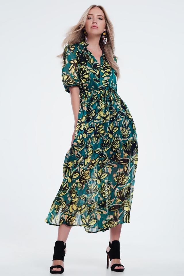 leaf print maxi smock green dress