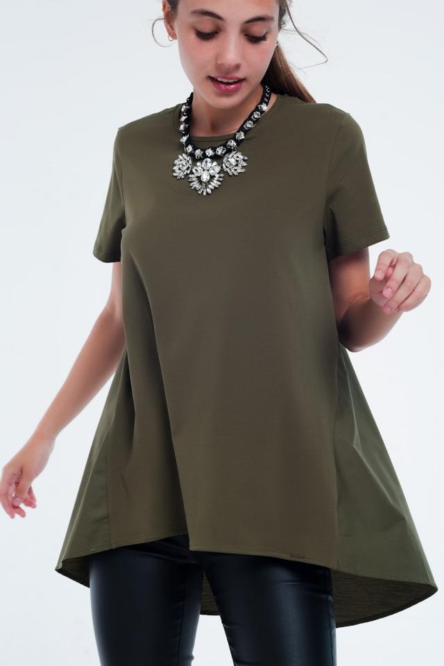 T-Shirt-Kleid in khaki