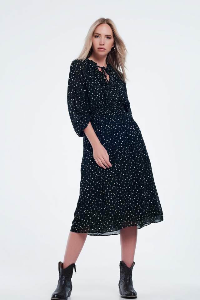 Plisse midi dress with elasticated waist in polka dot