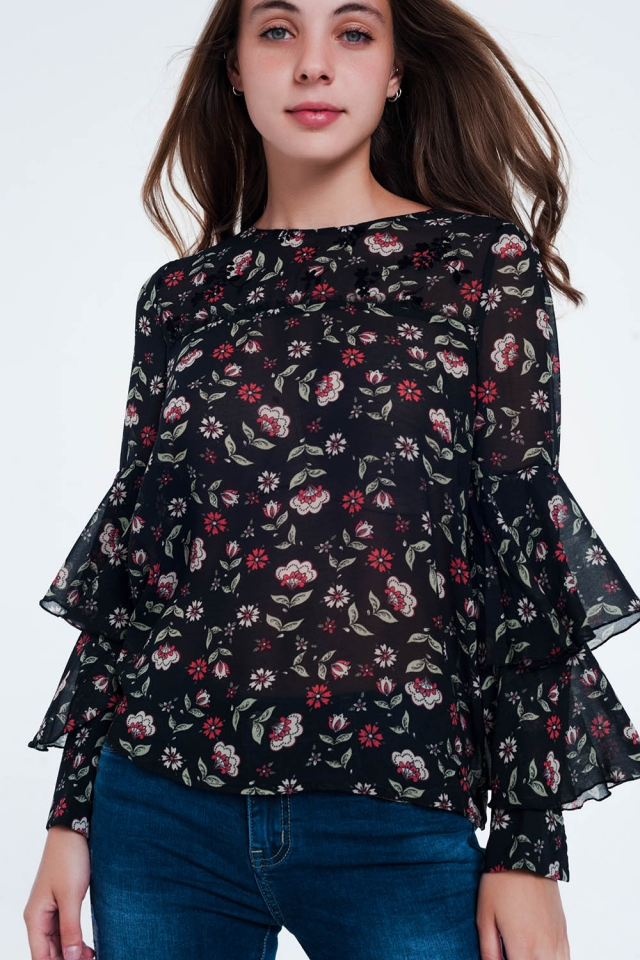 Floral Print Tiered Ruffle long sleeve Blouse