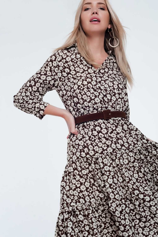 Belted midi dress with pleated skirt in vintage floral print
