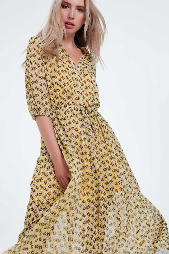 Yellow floral long sleeve maxi dress