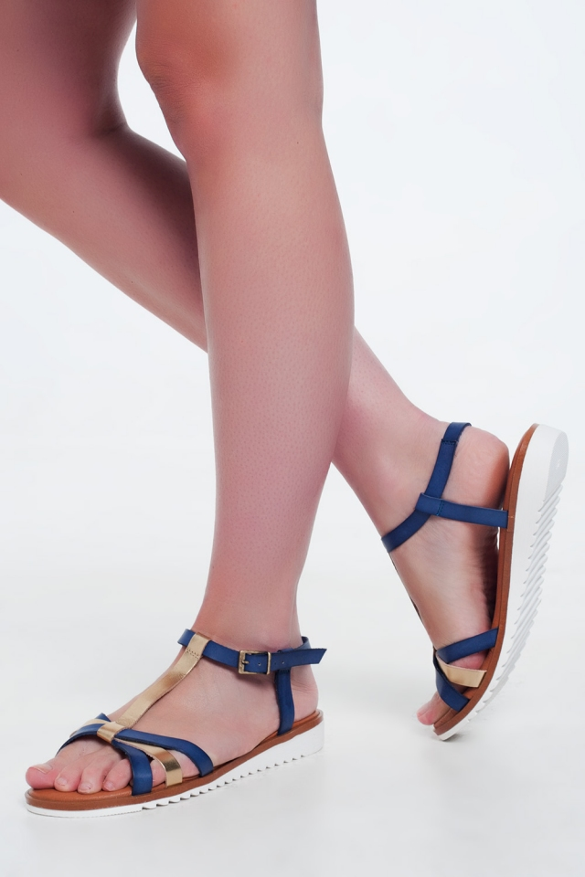 Gold-blue coloured wedge sandals