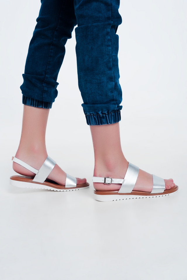 Flume flat sandals in silver