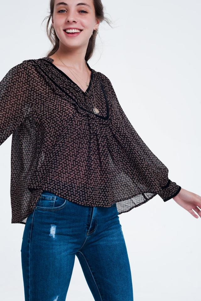 Black printed tunic top