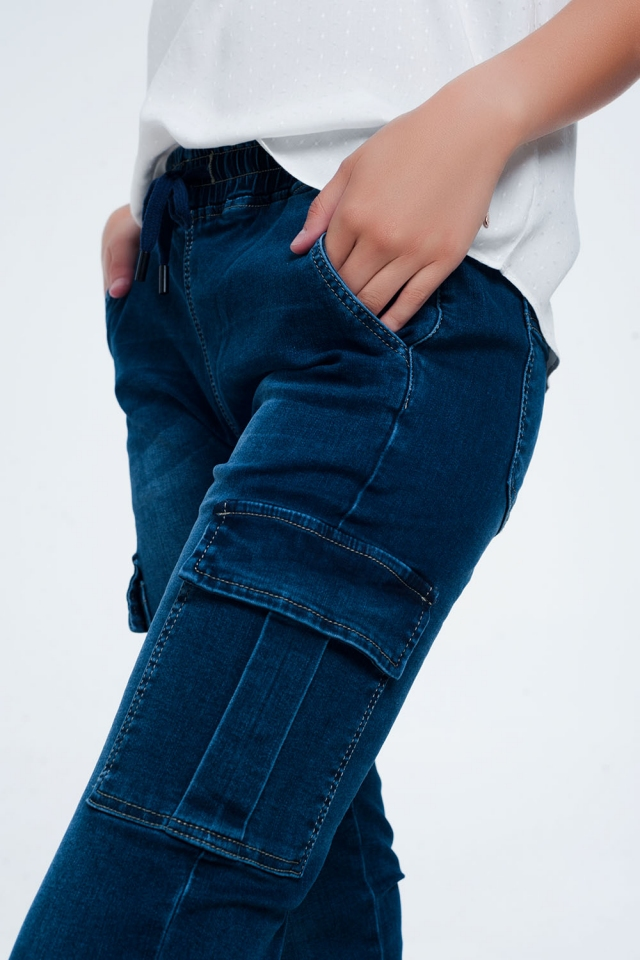 Slim jeans in blue with elasticated waist