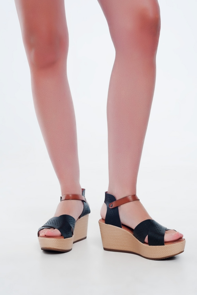 Black high wedge espadrille Sandal