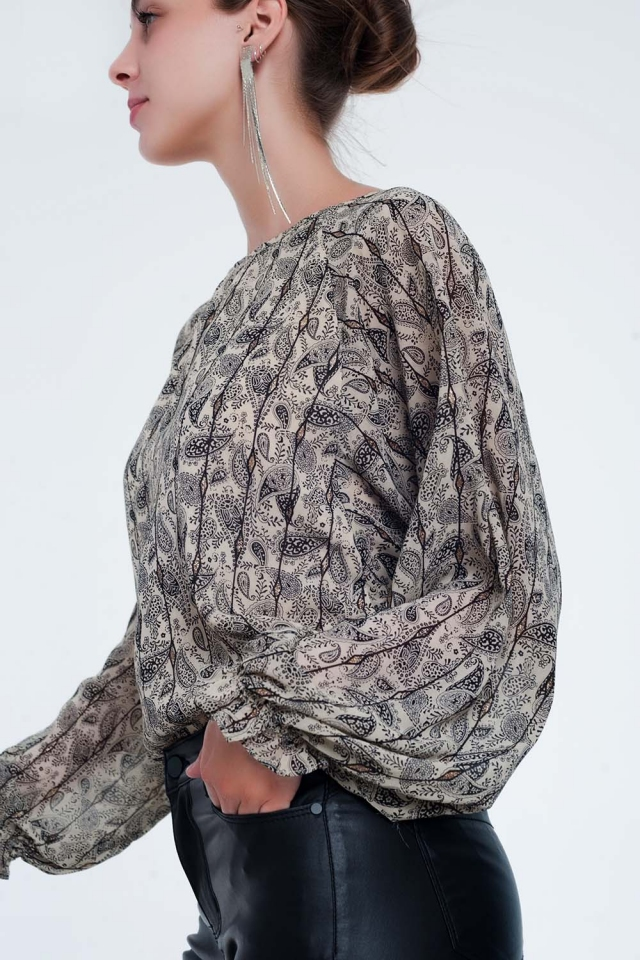 long sleeve beige shirt in paisley print