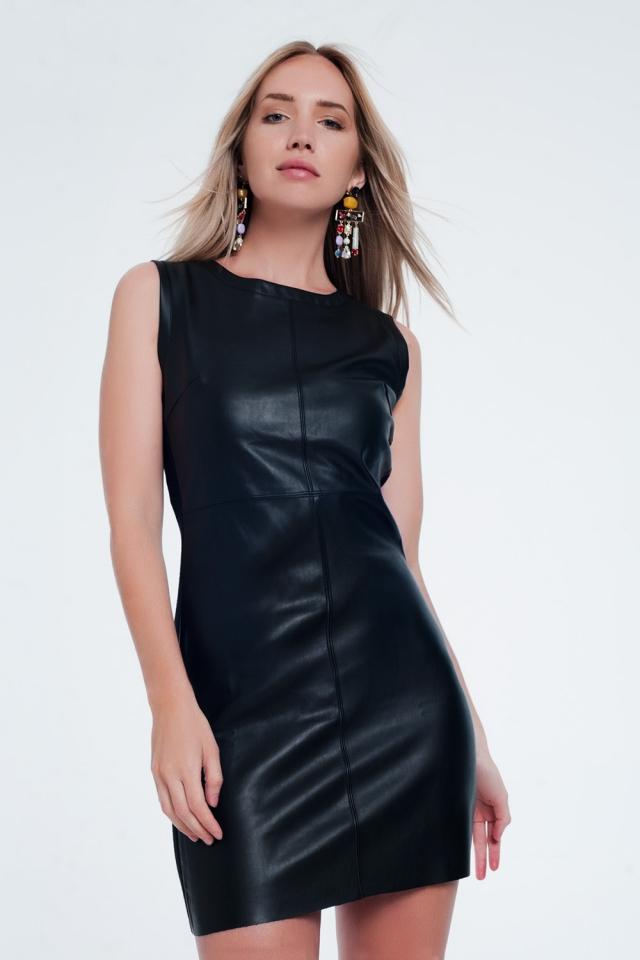 Faux leather mix shift black dress
