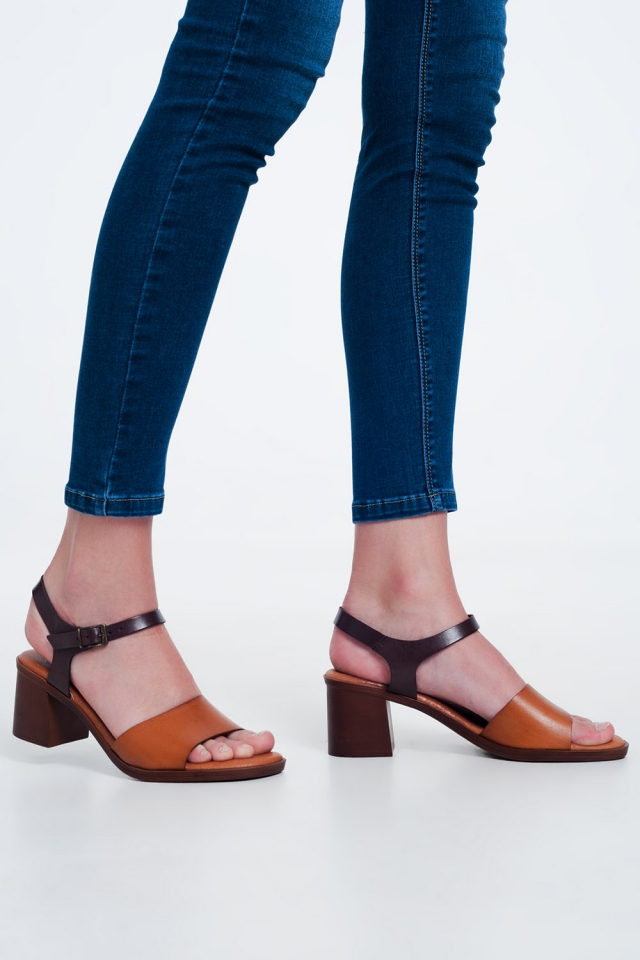 Camel sandals with block heel and ankle fastening