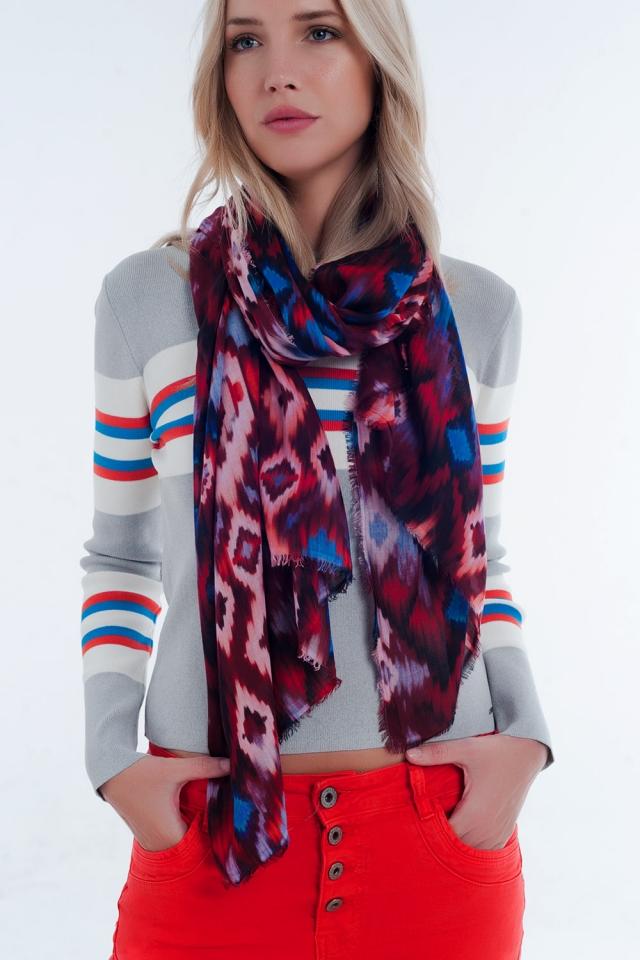 red tie-dye print scarf