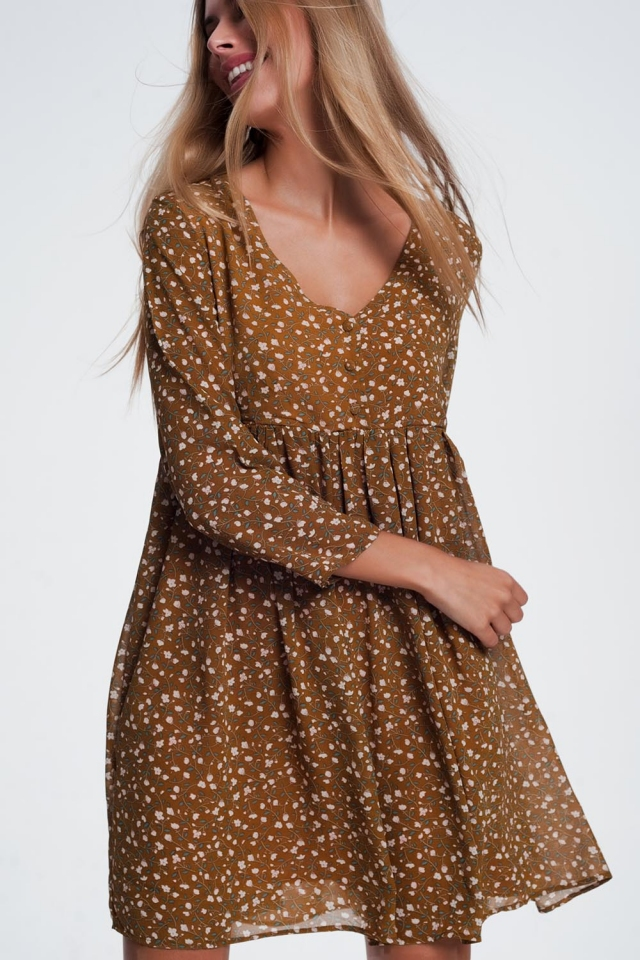 babydoll mini swing dress in mustard floral print