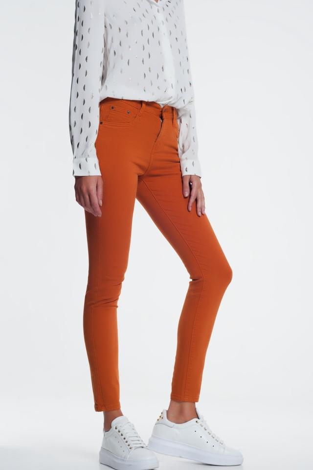 skinny jeans in orange