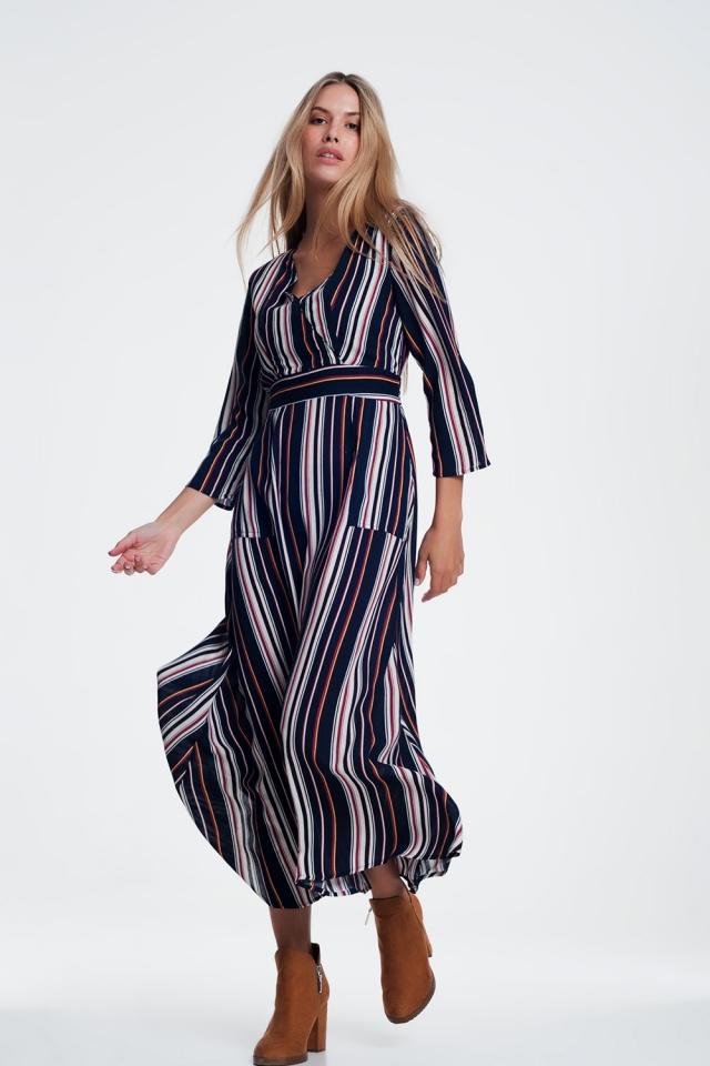 Navy stripe belted midi shirt dress