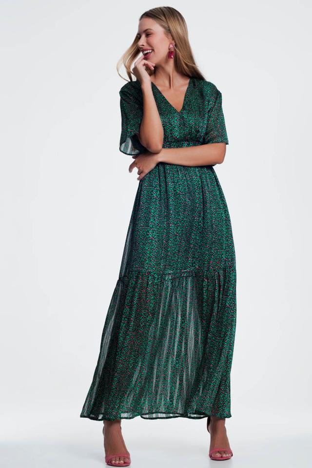 layered printed green maxi dress