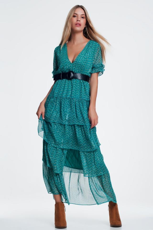 Green Tiered Maxi Dress