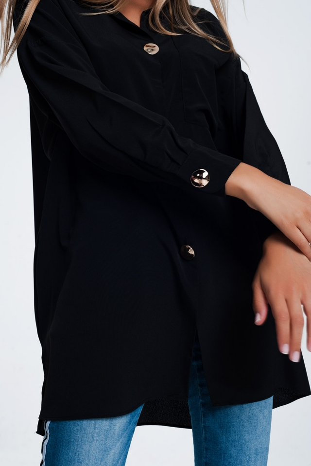 oversized long sleeve shirt with vintage button detail in black