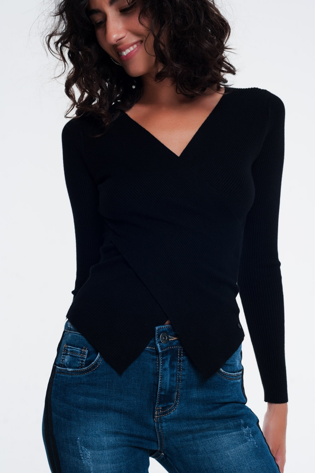 Black ribbed wrap sweater with v-neck