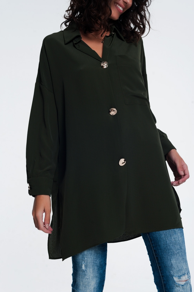 oversized long sleeve shirt with vintage button detail in Khaki