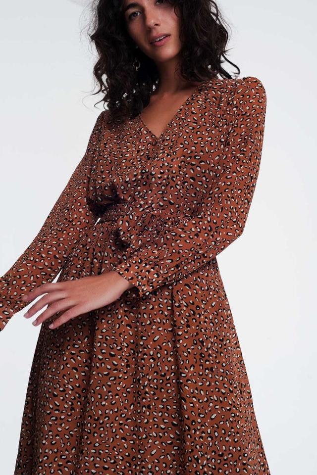 V front leopard print midi dress in brown