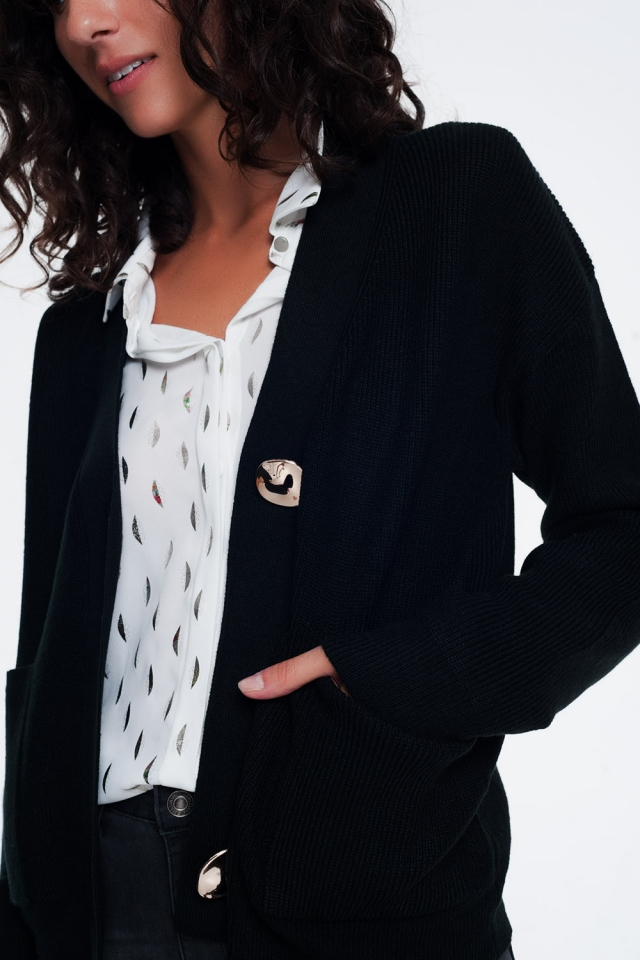 V neck button front black cardigan