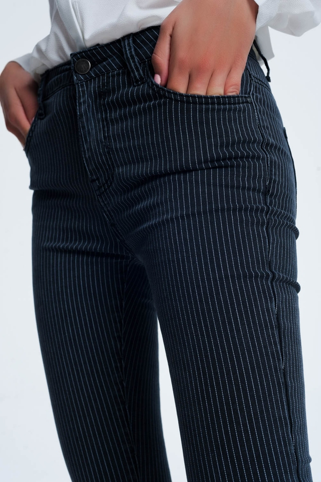 striped pants in black