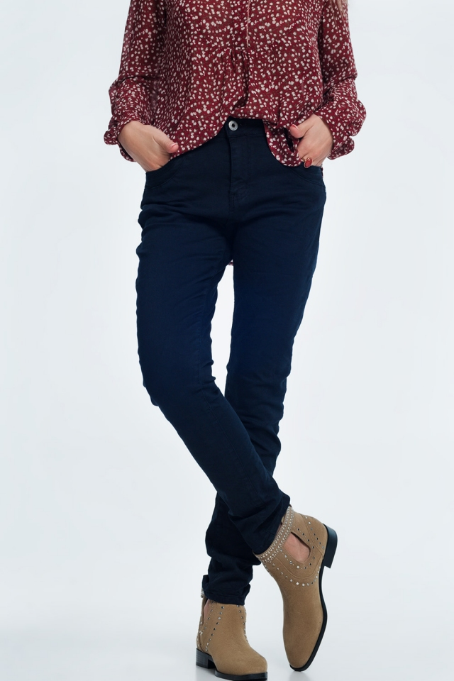 Drop crotch skinny jean in navy