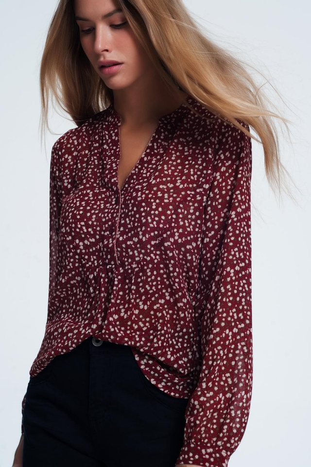 Maroon V-Neck Smock Top In Floral