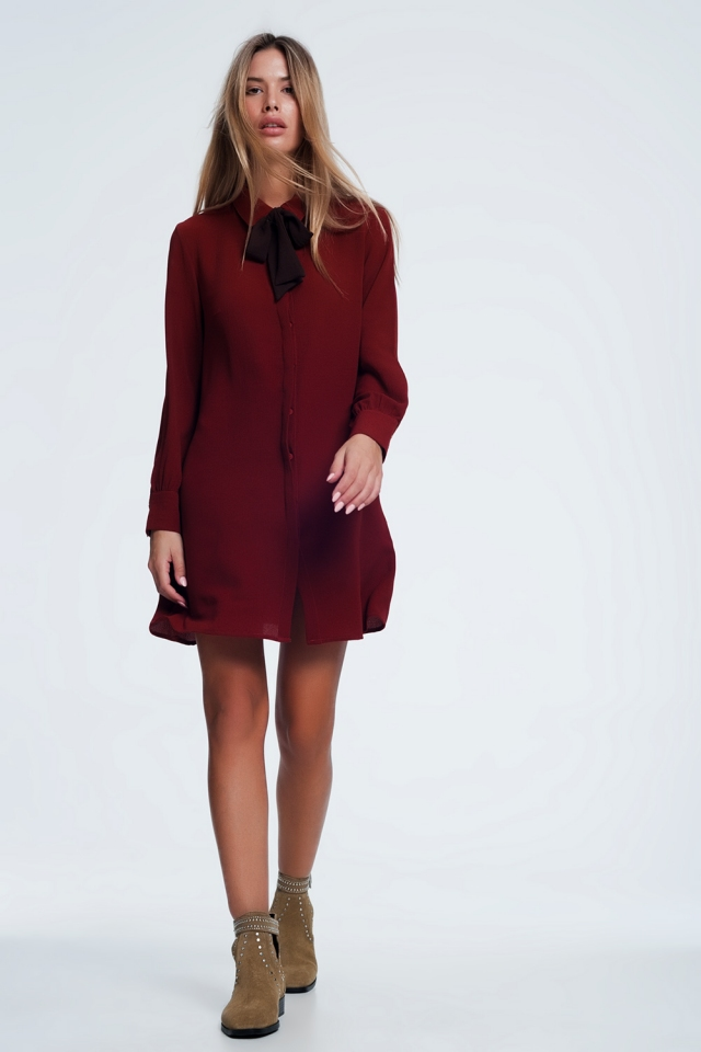 tie front button-down dress in Maroon