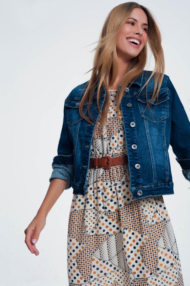 Enge Western-Jeansjacke mit mittlerer Waschung