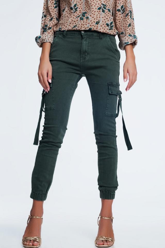 Khaki green cargo skinny jeans