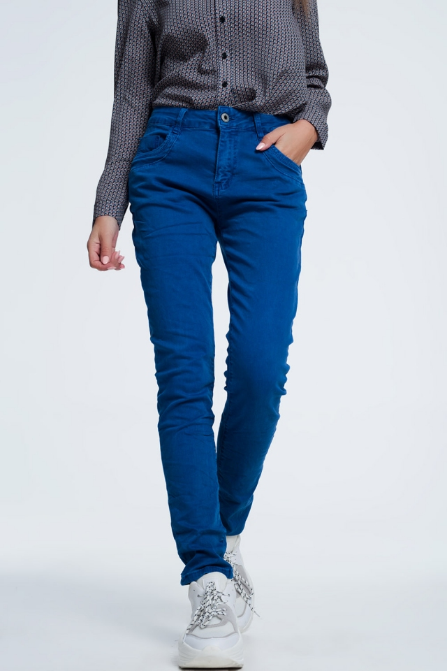 Drop crotch skinny jean in blue