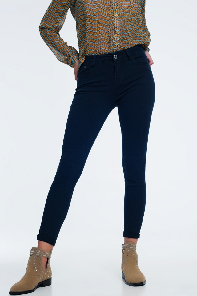 high waist skinny jeans in navy
