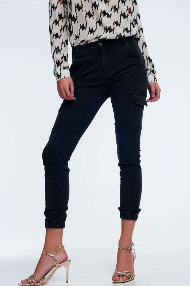 slim utility cargo jeans in black